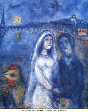 Marc Chagall - Nowożeńcy z wieżą Eiffel'a w tle
