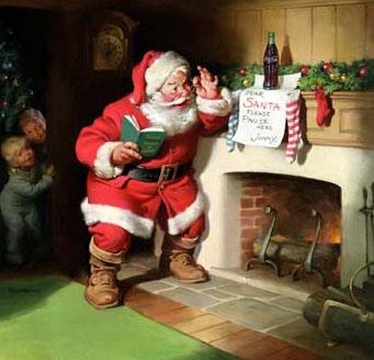 Święty Mikołaj przy kominku