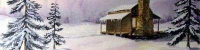 """Winter cabin"", Sarah. B. Douglas, obraz"