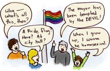 flaga gay-pride na urzędzie miejskim, rysunek