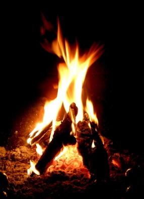 ogień w kominku, płonące polana