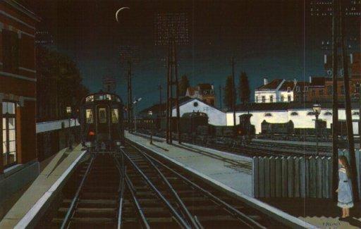 """Paul Delvaux - """"Nocny pociąg"""""""