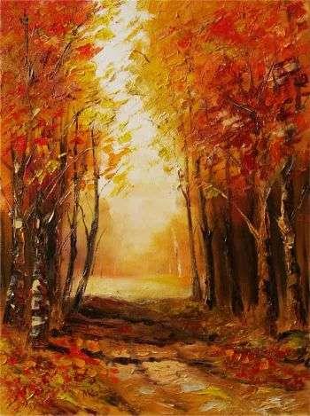 jesienna droga, obraz