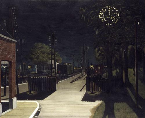 Paul Delvaux - Mała stacja kolejowa w nocy