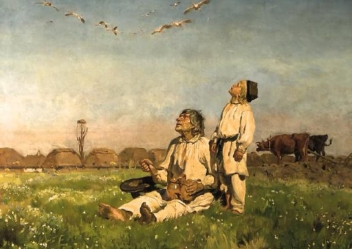 """Józef Chełmoński - """"Bociany"""" (1900)"""