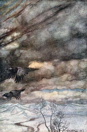 """Arthur Rackham - """"Zygfryd i Zmierzch Bogów"""" - Kruki Wotana"""