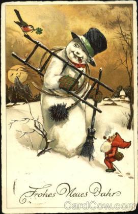 stara kartka noworoczna, bałwan i skrzat