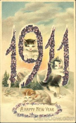 stara kartka noworoczna, koty