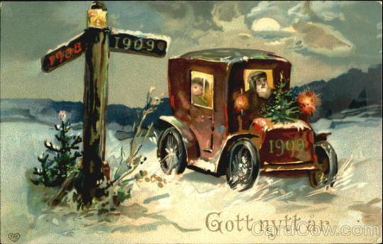 stara kartka noworoczna, samochód