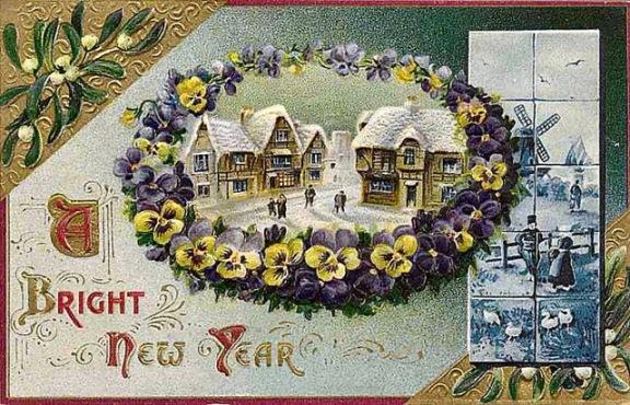 Nowy Rok, stare kartki noworoczne, bratki, jemioła, śnieg, płytki z Delft