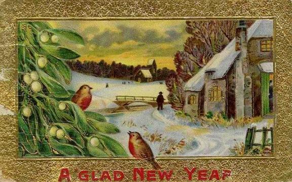 Nowy Rok, stare kartki noworoczne, ptaki, śnieg, jemioła