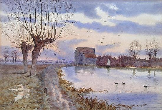 "Arthur Anderson Fraser, ""Sunset on the Ouse Washes"""