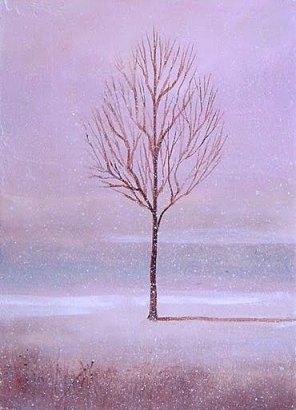 samotne drzewo w zimie, obraz