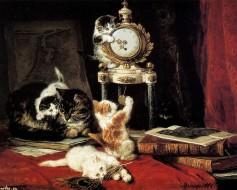 Henriette Ronner-Knip (koty bawiące się zegarem)