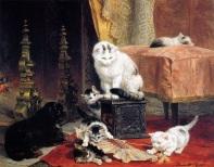 Henriette Ronner-Knip (koty bawiące się wachlarzem)