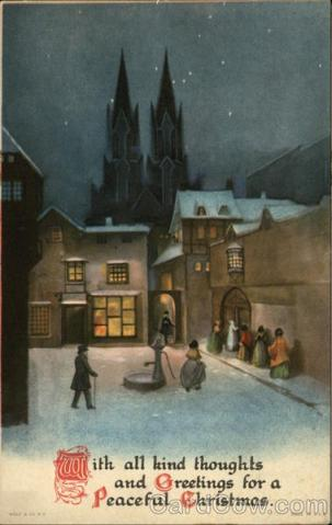 Stara kartka bożonarodzeniowa, Miasto i katedra w nocy