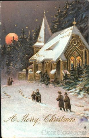 Stara kartka bożonarodzeniowa, Kościół i drzewa w nocy