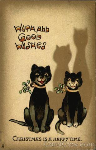 Stara kartka bożonarodzeniowa, Koty z jemiołą