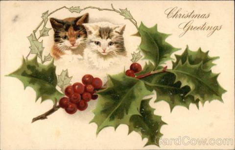 Stara kartka bożonarodzeniowa, Koty i ostrokrzew