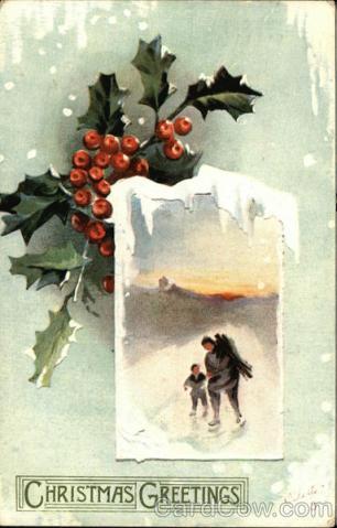 Stara kartka bożonarodzeniowa, Ostrokrzew i lód