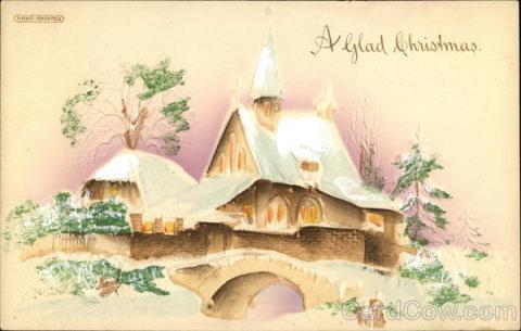 Stara kartka bożonarodzeniowa, Wiejski kościół w śniegu