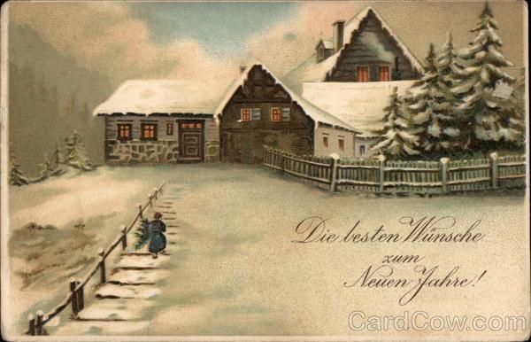stara kartka noworoczna, dom w śniegu