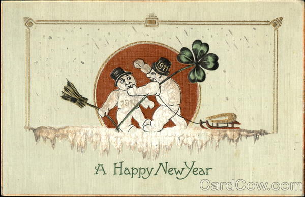 stara kartka noworoczna, bałwany