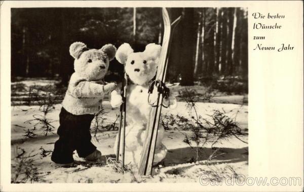 stare kartki noworoczne, z NRD, Misie z nartami