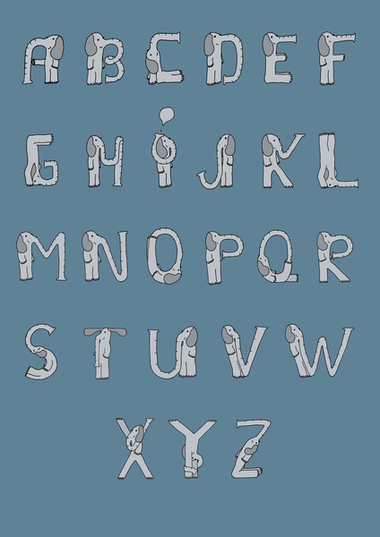 sloniowe litery, alfabet