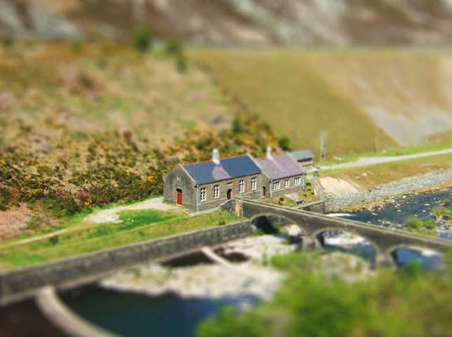 Elan Valley, Walia, UK,  fałszywy tilt-shift