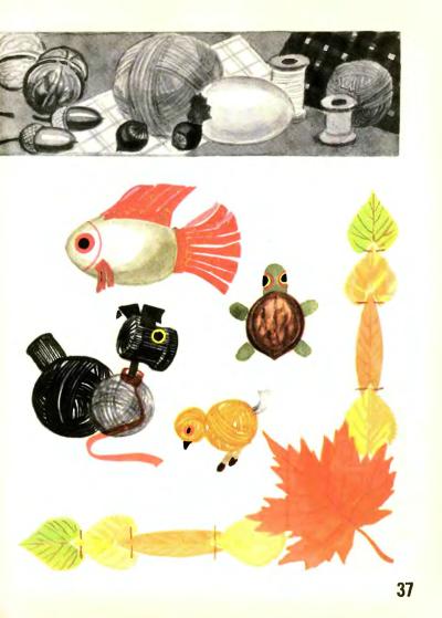 zwierzątki z włóczki i liście