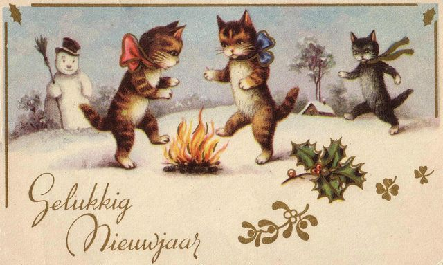 stara-kartka-noworoczna-koty