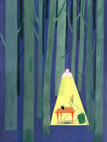 anne laval - kobieta czyta w lesie
