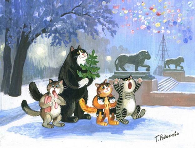zimowe-koty-jedzenie-tatyana_rodionova