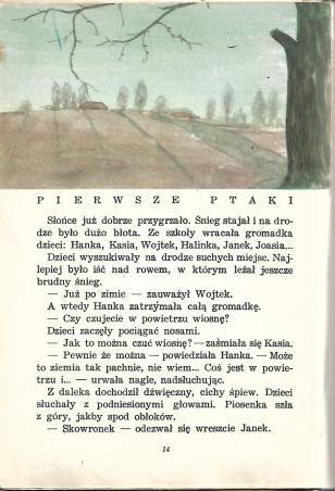 """Ilustracja: Jerzy Heintze, z książki """"Od wiosny do wiosny"""" S. Szuchowej i H. Zdzitowieckiej (wyd. z roku 1963; Nasza Księgarnia)"""